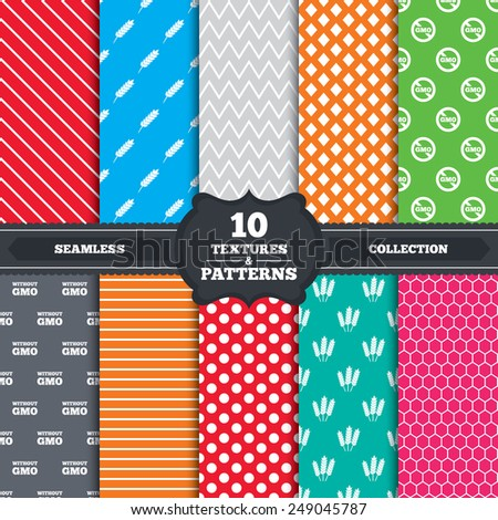 Seamless patterns and textures. Agricultural icons. Gluten free or No gluten signs. Without Genetically modified food symbols. Endless backgrounds with circles, lines and geometric elements. Vector - stock vector