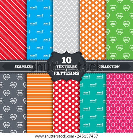 Seamless patterns and textures. Best boyfriend and girlfriend icons. Heart love signs. Awards with exclamation symbol. Endless backgrounds with circles, lines and geometric elements. Vector - stock vector