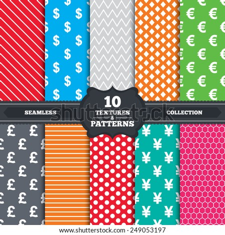 Seamless patterns and textures. Dollar, Euro, Pound and Yen currency icons. USD, EUR, GBP and JPY money sign symbols. Endless backgrounds with circles, lines and geometric elements. Vector - stock vector