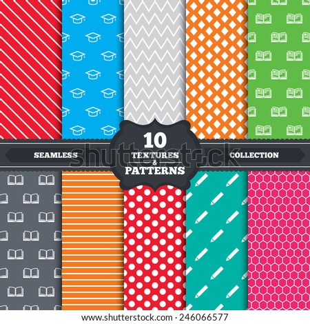Seamless patterns and textures. Pencil and open book icons. Graduation cap symbol. Higher education learn signs. Endless backgrounds with circles, lines and geometric elements. Vector - stock vector