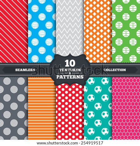 Seamless patterns and textures. Sport balls icons. Volleyball, Basketball, Soccer and Golf signs. Team sport games. Endless backgrounds with circles, lines and geometric elements. Vector - stock vector
