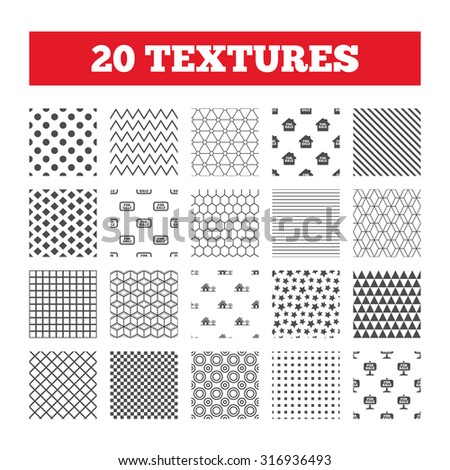 Seamless patterns. Endless textures. For sale icons. Real estate selling signs. Home house symbol. Geometric tiles, rhombus. Vector - stock vector