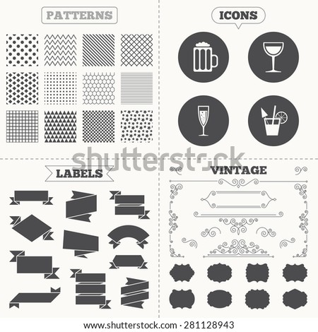 Seamless patterns. Sale tags labels. Alcoholic drinks icons. Champagne sparkling wine with bubbles and beer symbols. Wine glass and cocktail signs. Vintage decoration. Vector - stock vector