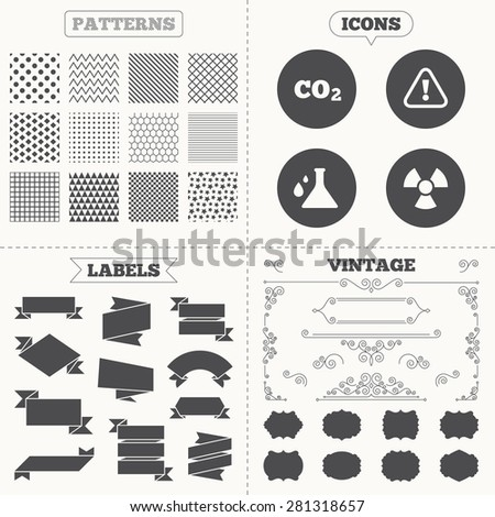 Seamless patterns. Sale tags labels. Attention and radiation icons. Chemistry flask sign. CO2 carbon dioxide symbol. Vintage decoration. Vector - stock vector