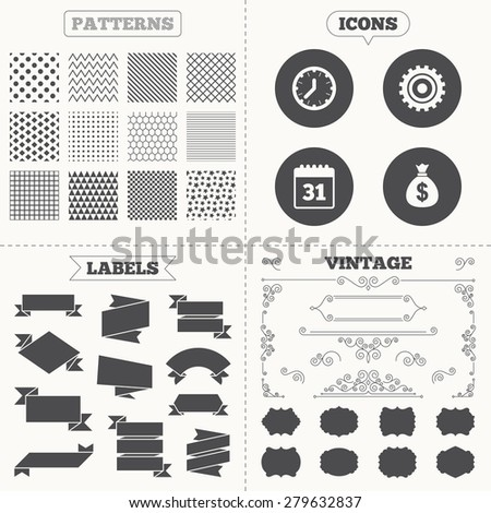 Seamless patterns. Sale tags labels. Business icons. Calendar and mechanical clock signs. Dollar money bag and gear symbols. Vintage decoration. Vector - stock vector