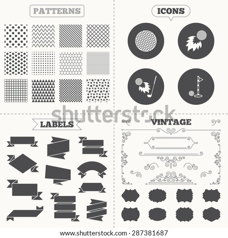 Seamless patterns. Sale tags labels. Golf ball icons. Fireball with club sign. Luxury sport symbol. Vintage decoration. Vector - stock vector