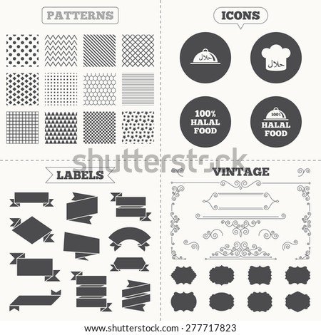 Seamless patterns. Sale tags labels. Halal food icons. 100% natural meal symbols. Chef hat sign. Natural muslims food. Vintage decoration. Vector - stock vector