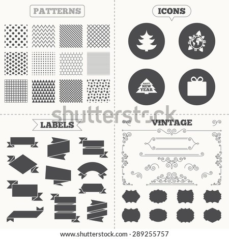 Seamless patterns. Sale tags labels. Happy new year icon. Christmas trees and gift box signs. World globe symbol. Vintage decoration. Vector - stock vector