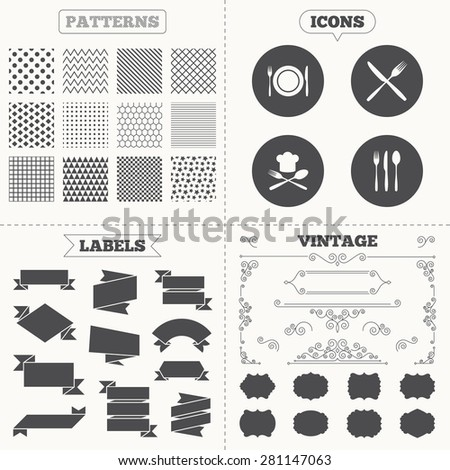 Seamless patterns. Sale tags labels. Plate dish with forks and knifes icons. Chief hat sign. Crosswise cutlery symbol. Dining etiquette. Vintage decoration. Vector - stock vector