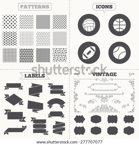 Seamless patterns. Sale tags labels. Sport balls icons. Volleyball, Basketball, Baseball and American football signs. Team sport games. Vintage decoration. Vector - stock vector