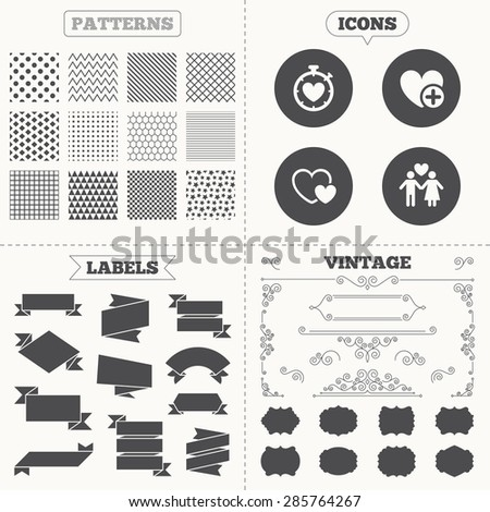 Seamless patterns. Sale tags labels. Valentine day love icons. Love heart timer symbol. Couple lovers sign. Add new love relationship. Vintage decoration. Vector - stock vector