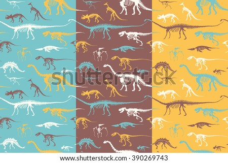 Seamless patterns Set of silhouettes of skeletons of dinosaurs and fossils. Hand drawn vector illustration. Silhouettes of man and children, comparison of sizes, realistic size. - stock vector