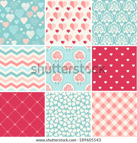 Seamless patterns set - Romance, love and wedding theme - stock vector
