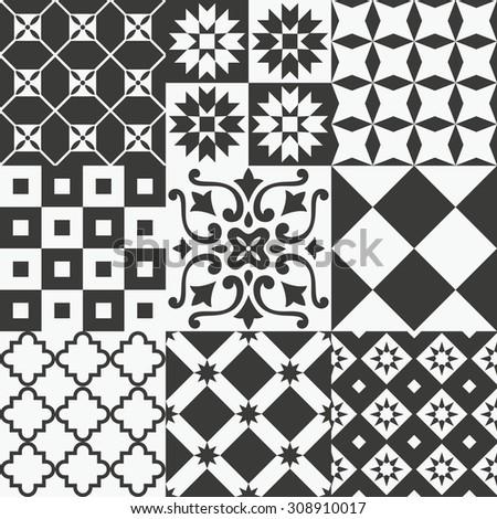 seamless patterns set. vector illustration - stock vector