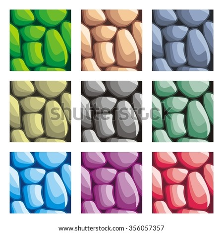 seamless patterns set, vector stone background textures collection for creating game - stock vector