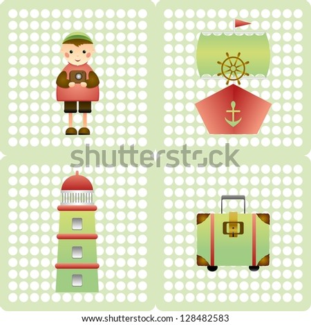 Seamless patterns voyage - stock vector