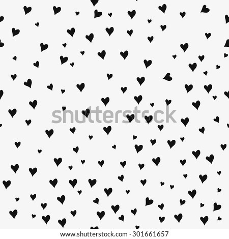 Seamless patterns with black hearts. Seamless background with hearts. Valentine's Day. Gift wrap, print, cloth, cute background for a card. Star sky. - stock vector