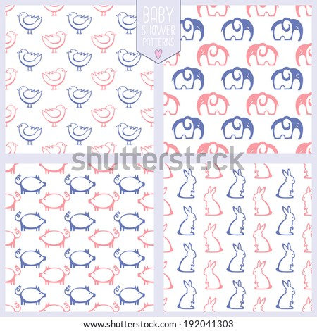 Seamless patterns with cute animals. Baby shower set. Vector illustration. - stock vector