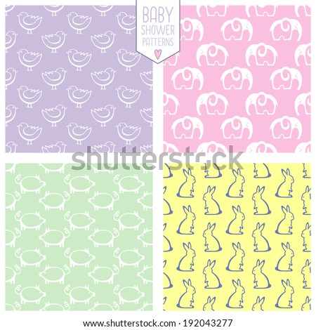 seamless patterns with cute animals. baby shower set. vector illustration - stock vector