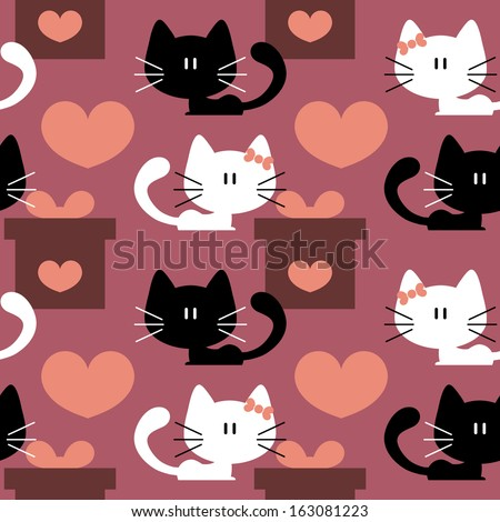 Seamless patterns with cute kittens in love - stock vector