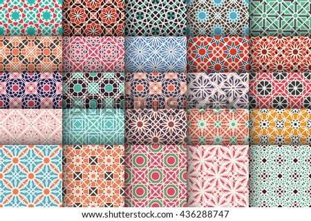 Seamless patterns with geometric ornaments. Vector set of arabic seamless textures - stock vector
