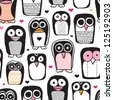 Seamless penguin bird illustration background pattern for kids in vector - stock vector