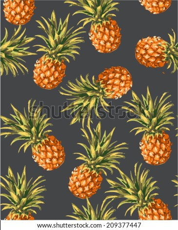 seamless pineapples vector pattern - stock vector