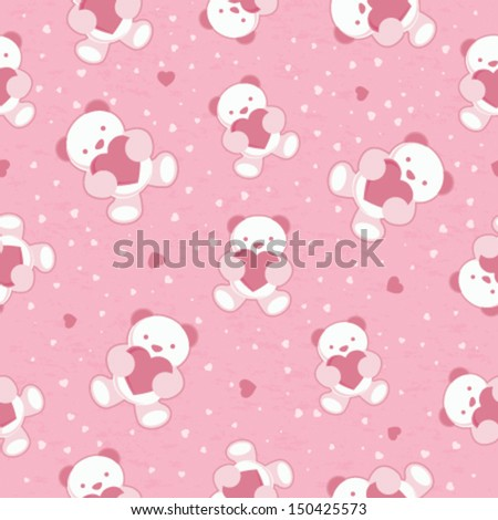 Seamless Pink Baby Background with teddy bear and hearts. Vector illustration. - stock vector