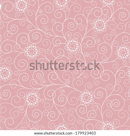 seamless pink floral background - stock vector