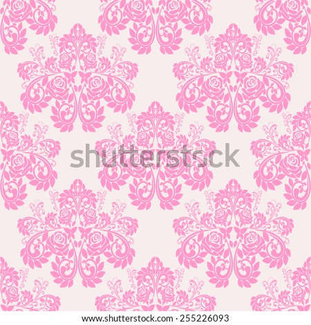 Seamless pink floral Wallpaper with roses. - stock vector