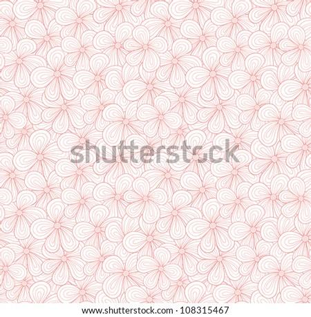 Seamless pink flower pattern. Vector illustration - stock vector