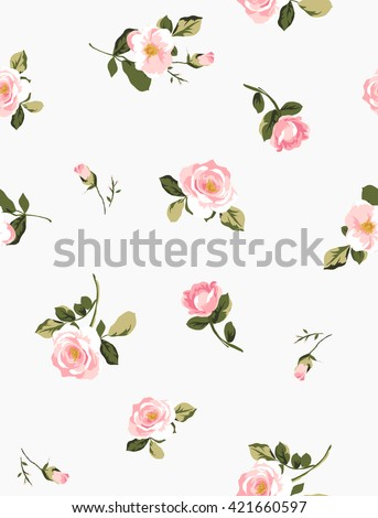 seamless pink flower pattern with background - stock vector