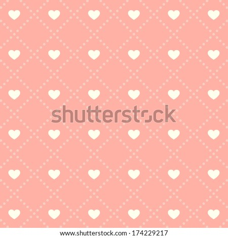Seamless pink heart pattern on light background. - stock vector