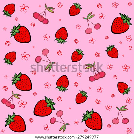 Seamless pink pattern with strawberries and cherries. Summer fruit illustration. Vector Illustration - stock vector