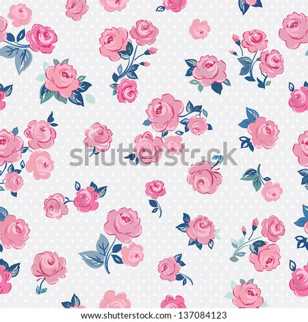 Seamless pink vintage rose pattern on blue background, vector illustration - stock vector