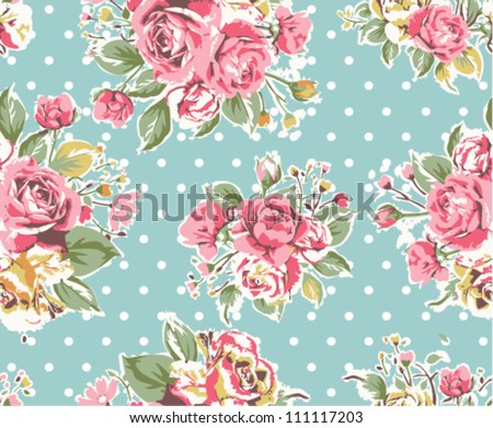 seamless pink vintage rose pattern on green background - stock vector
