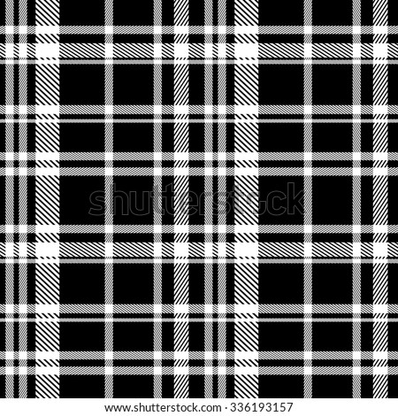 seamless plaid black and white pattern, vector - stock vector
