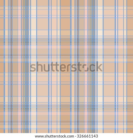 Seamless plaid material pattern with blue lines on brown - stock vector