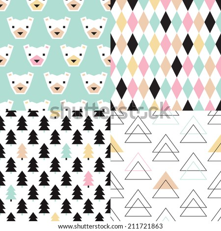Seamless polar bears and christmas trees geometric wrapping paper collection happy pastel holidays background pattern in vector - stock vector
