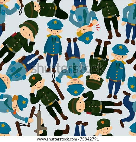 seamless police and army pattern - stock vector