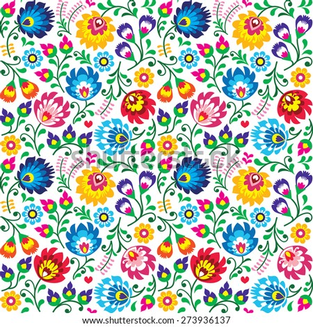 Seamless Polish folk art floral pattern - wzory lowickie, wycinanki - stock vector