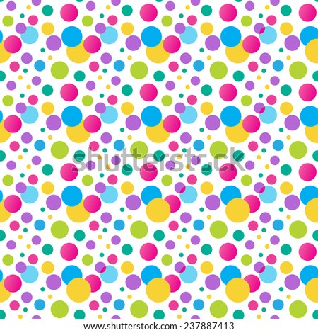 Seamless  polka dot pattern. Bright  Vector pattern for birthday design. Can be used for wallpaper, web, textile, wrap design - stock vector
