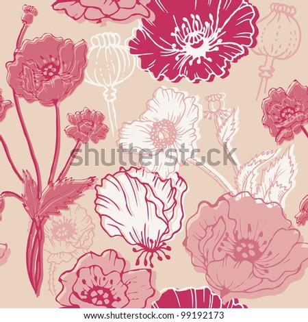 Seamless Poppy Background - for your design, scrapbook in vector - stock vector