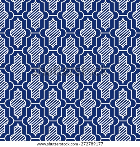 Seamless porcelain indigo blue and white vintage Moroccan pattern vector - stock vector