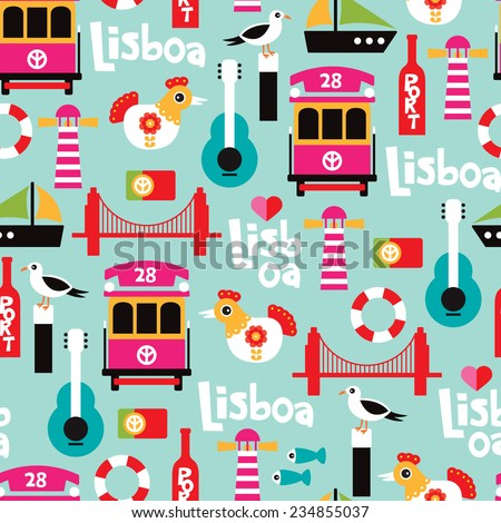 Seamless Portugal city of Lisbon travel icon illustration design background pattern in vector - stock vector