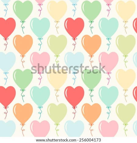 Seamless primitive retro background with hearts balloons ideal for Valentines day party or wedding - stock vector