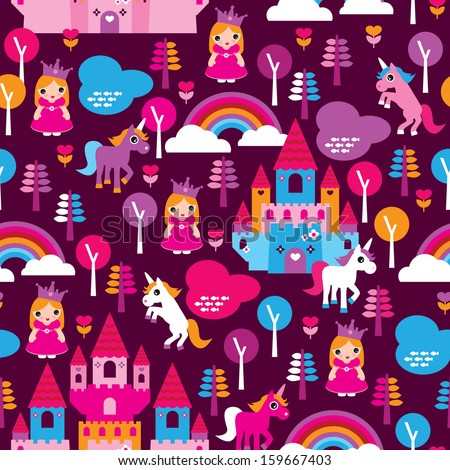 Seamless princess castle and horse rainbow retro kids background pattern in vector  - stock vector