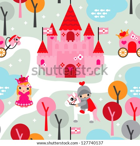 Seamless princess castle and horse retro kids background pattern in vector - stock vector