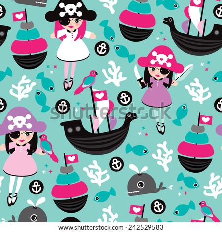 Seamless princess pirate coral fish and little cute whale illustration background pattern in vector - stock vector