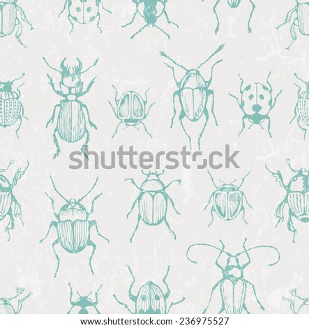 Seamless print with bugs. EPS 10 vector illustration. - stock vector